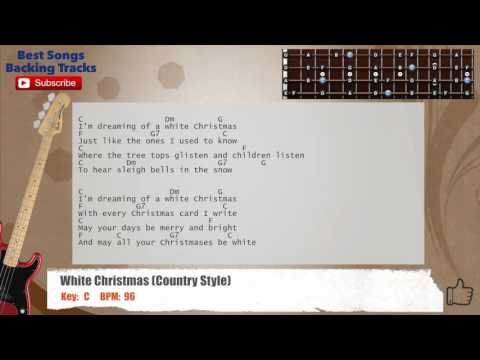 White Christmas (Country Version) Bass Backing Track with scale, chords and lyrics