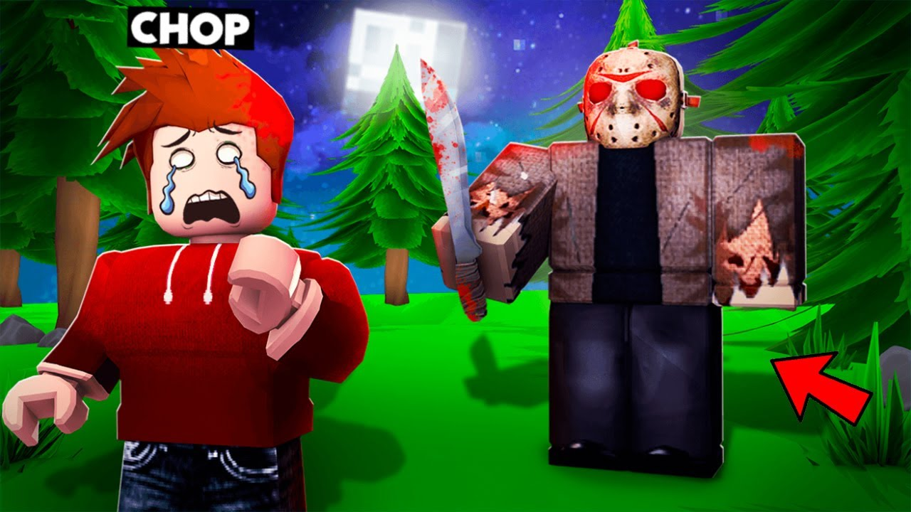 JASON CHASED CHOP THROUGH THE SCARY FOREST ROBLOX