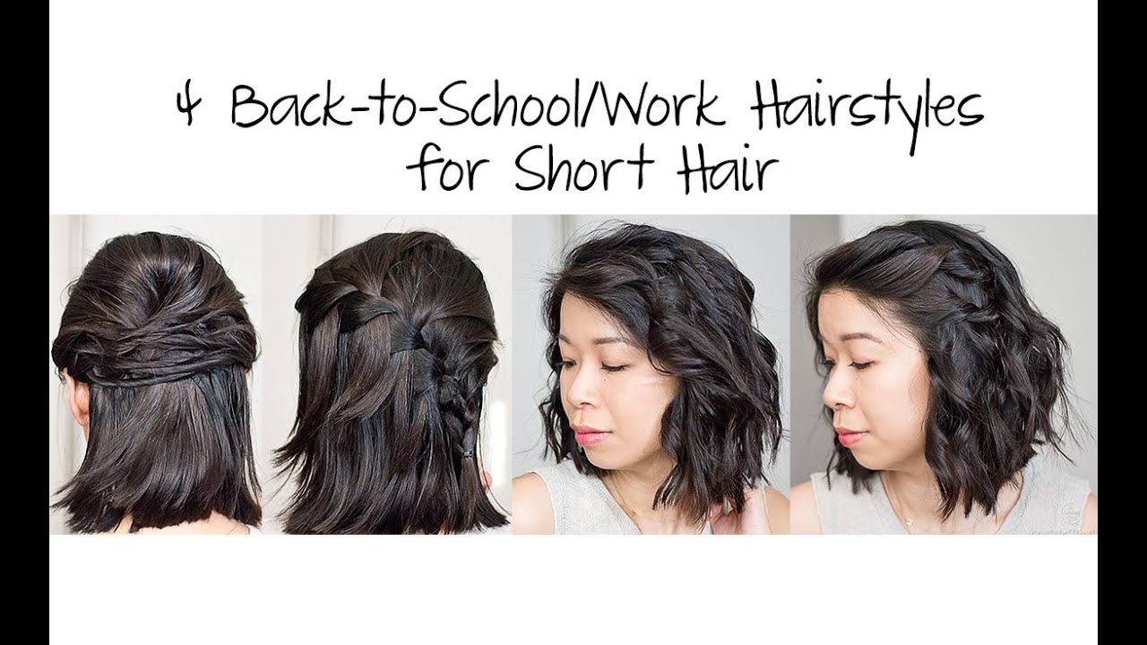 Easy 5-Min Back to School/Work Hairstyles for Short Hair ...