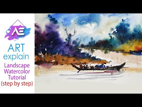 River Watercolor Landscape Painting | How to paint a watercolor landscape | Art Explain