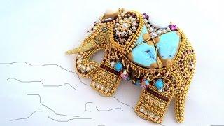 Ювелирная вышивка MagicSheba | Брошь Индийский Слон талисман, вышивка золотом