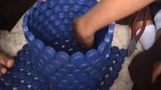 Cara membuat bak sampah dari limbah tutup botol