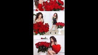 Мои фото с розами и в красном платье