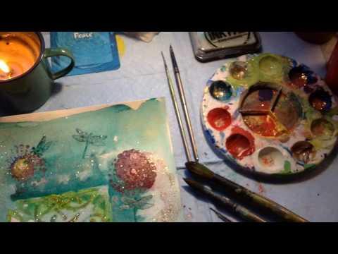 Artist in a studio, working on new artwork