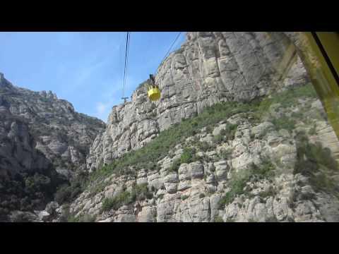 Air way up to Montserrat mountain monastery, Barcelona, Spain