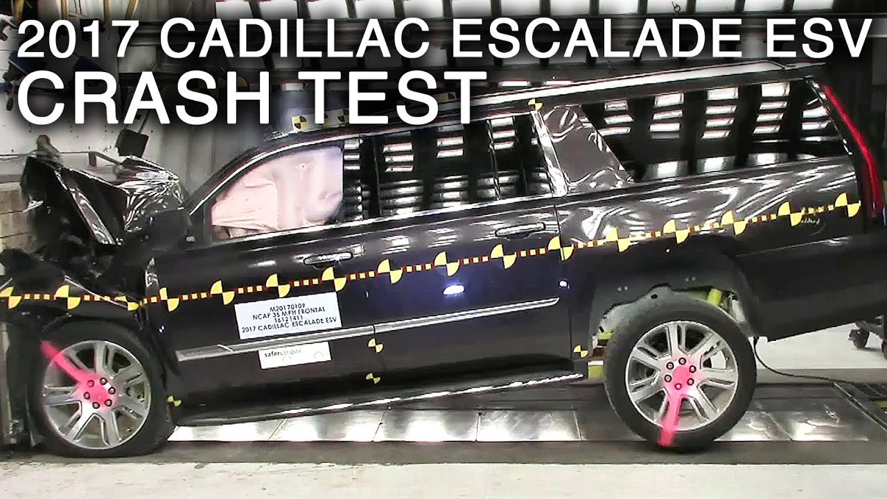 2017 cadillac escalade esv frontal crash test youtube. Black Bedroom Furniture Sets. Home Design Ideas