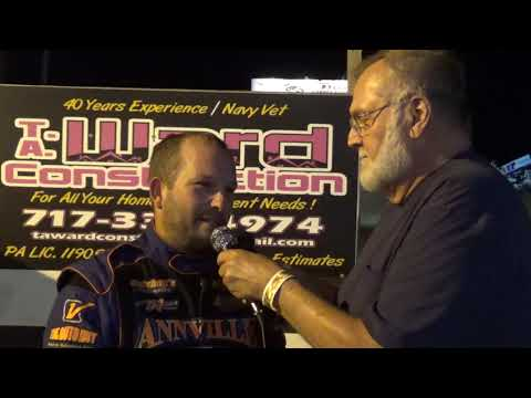 Mike Boyer in victory lane at Path Valley 7/13/19