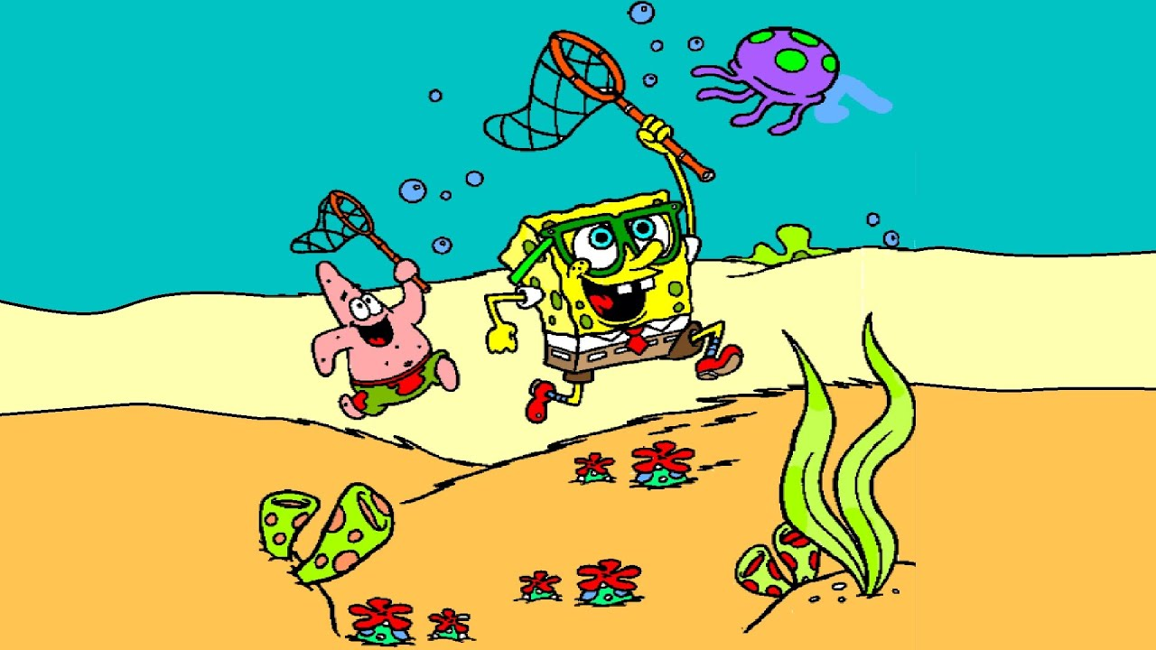spongebob and patrick trying to catch a jellyfish coloring pages