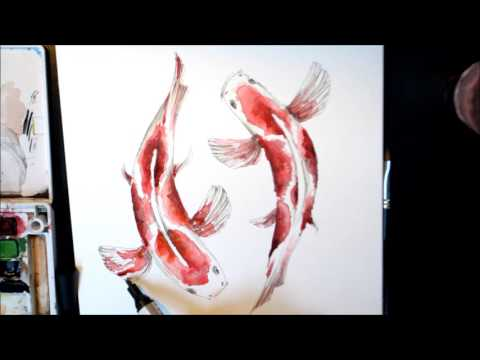 KOI FISH WATERCOLOR DRAWING