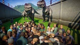 50 T-REX Breakout and Kills 2000 PEOPLE - Jurassic World Evolution