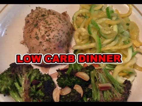 Simple Gluten Free & Low Carb Dinner ~ Chicken Thighs ~ Roasted Broccoli & Garlic and Zoodles