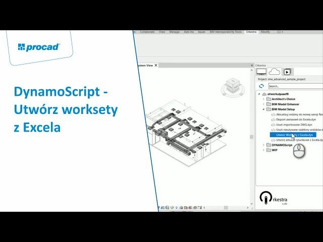 DynamoScript  - Utwórz worksety z Excela