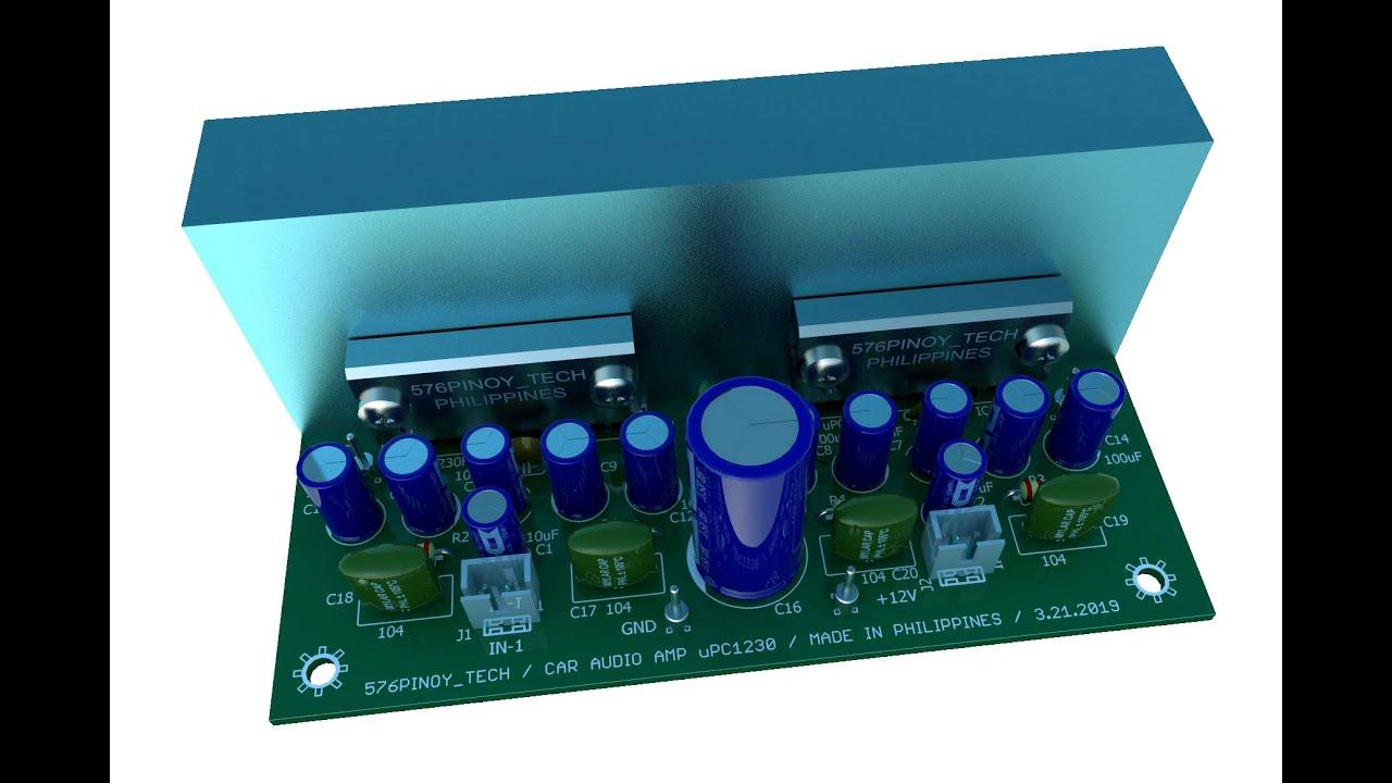 12V Stereo Amp Module Using uPC1230 IC - YouTube