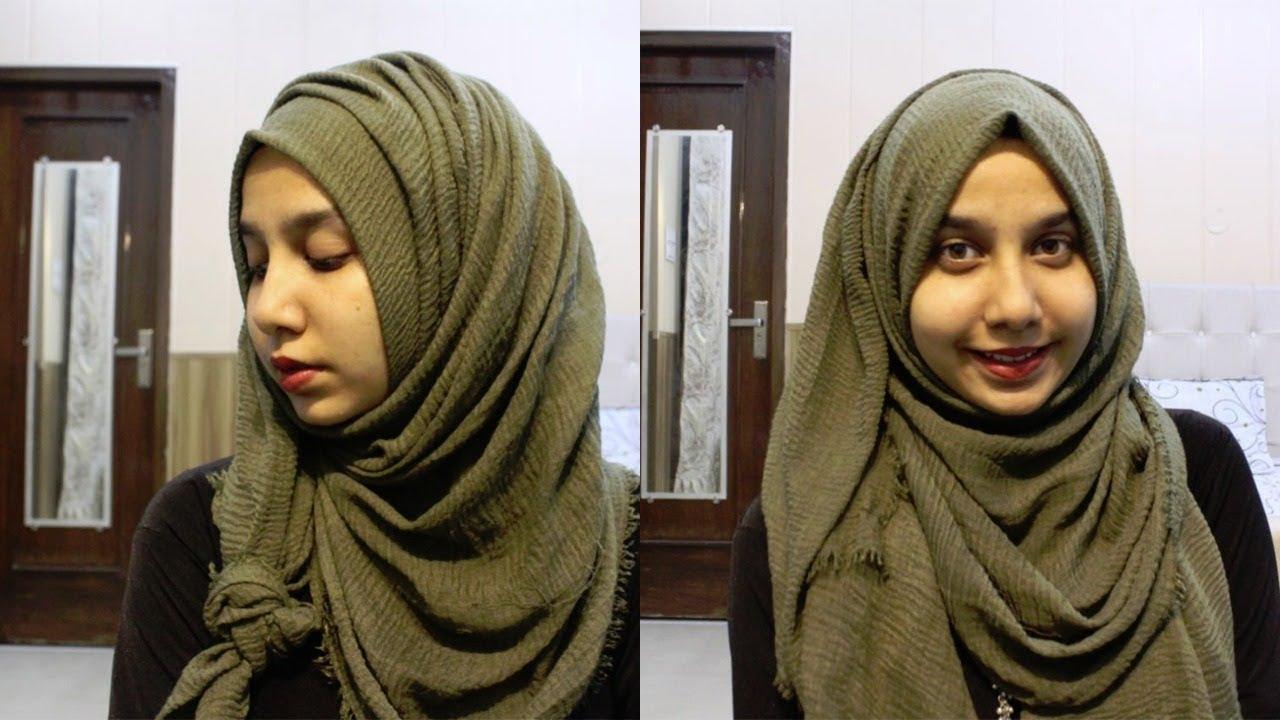 2 Super Simple Hijab Tutorials Using Crinkle Hijab Youtube