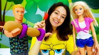 Барби на ПИКНИКЕ. Видео для детей с пластилином Плей До.