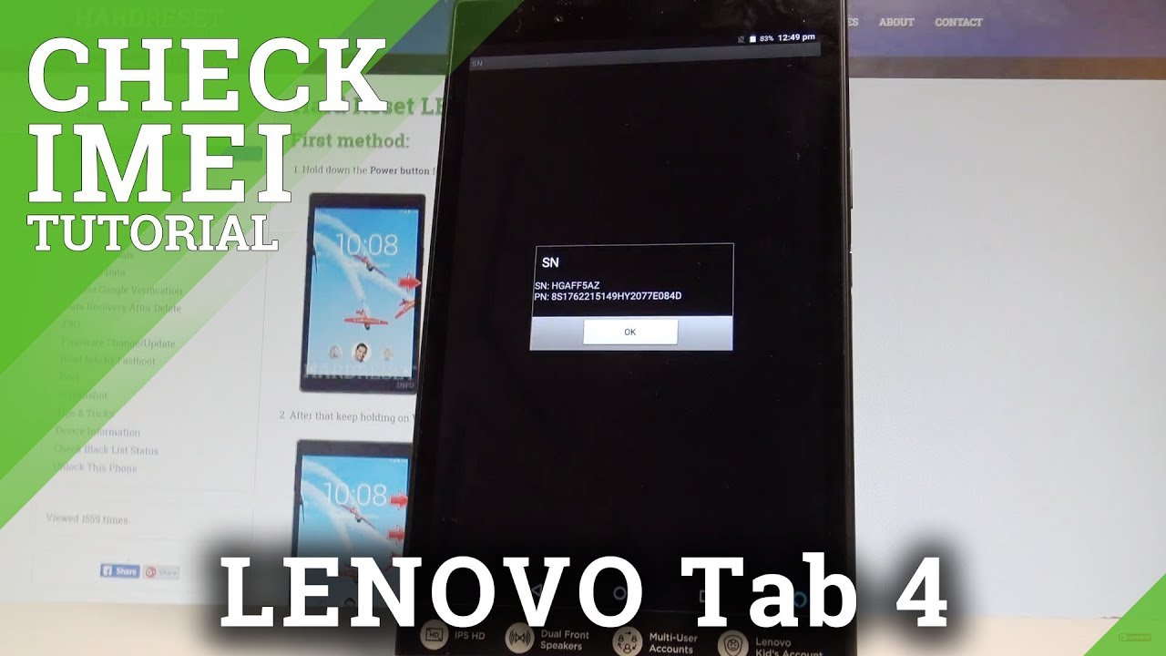 How to Check IMEI and Serial Number on LENOVO Tab 4 - Status Settings  |HardReset Info