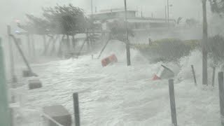 Storm Surge Flooding And Powerful Winds - Typhoon Hato Batters Hong Kong Stock Footage Reel