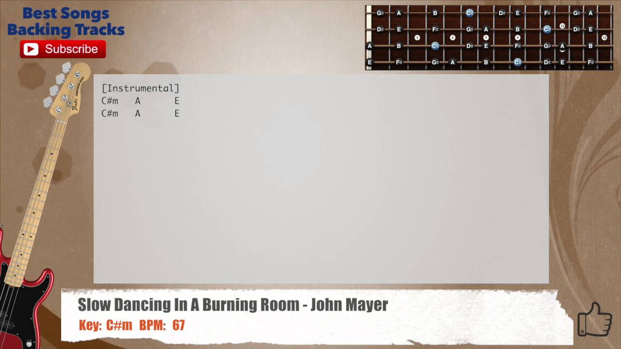 Slow Dancing In A Burning Room John Mayer Bass Backing Track With