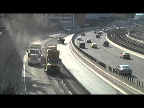 Time-lapse of I-84 eastbound paving in Portland