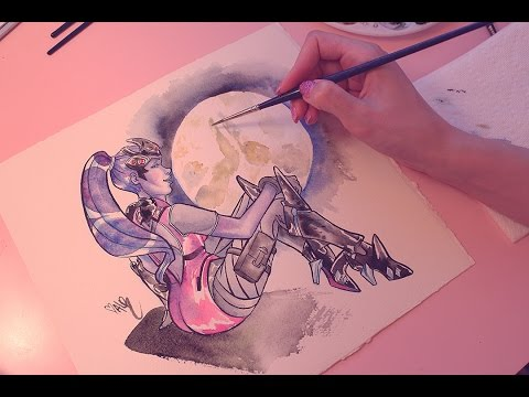 Painting Widowmaker with Watercolours (ASMR whispering/paint