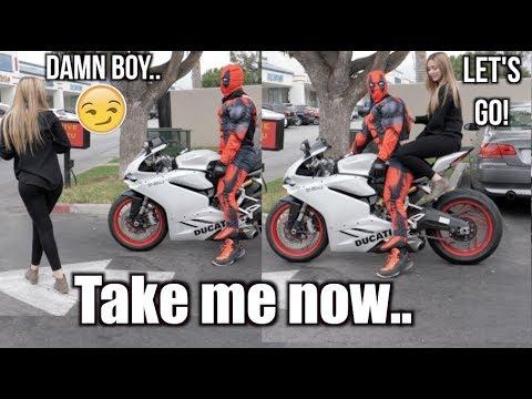 Picking up Girls as DeadPool On Ducati!