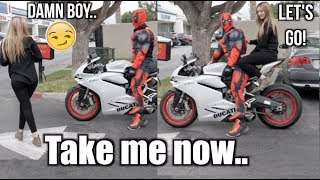 Picking up Girls as DeadPool On Ducati!