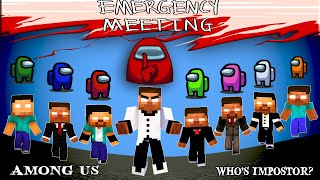 AMONG US FULL EPISODE : HEROBRINE VS DEMONBRINE THE IMPOSTOR : MONSTER SCHOOL