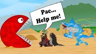 Godzilla vs Shin Godzilla, PAC-MAN vs Evolution of Shark Giant Attack   Godzilla Movie