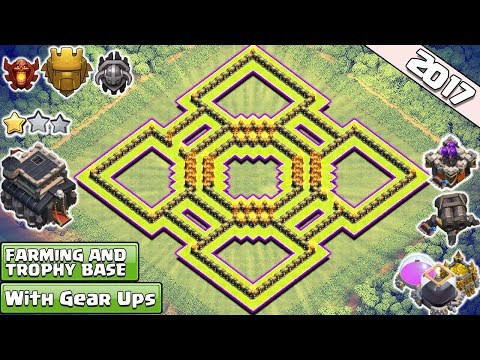 BEST!! Clash Of Clans Town Hall 9 (TH9) Farming & Trophy Base 2017 ♦ TH9 Base Anti Everything 2017