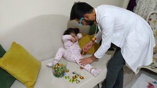 İğneden korkan bebeğe doktor iğne yaptı | for kids video | oyuncu bebe TV