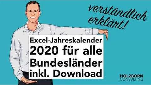 #066 Excel Jahreskalender 2020 mit Ferien, Feiertagen (alle Bundesländer), Geburtstagen Download