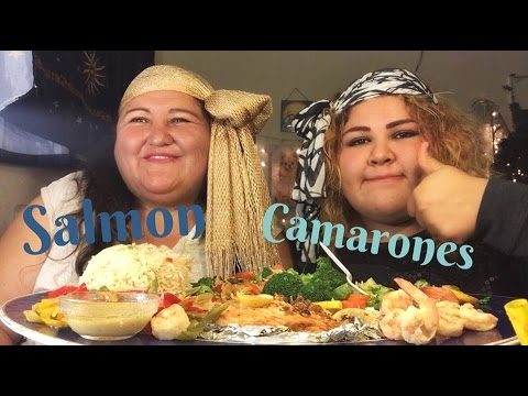 Salmon Con Camarones mukbang en Español