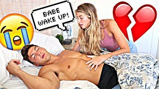 NOT WAKING UP PRANK ON GIRLFRIEND!! *Cute Reaction*