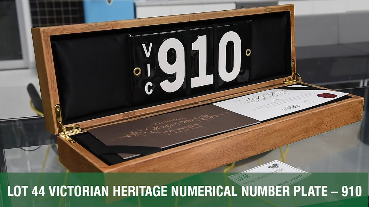 Victorian Heritage Numerical Number Plates - 2018 Shannons Melbourne Late Spring Classic Auction