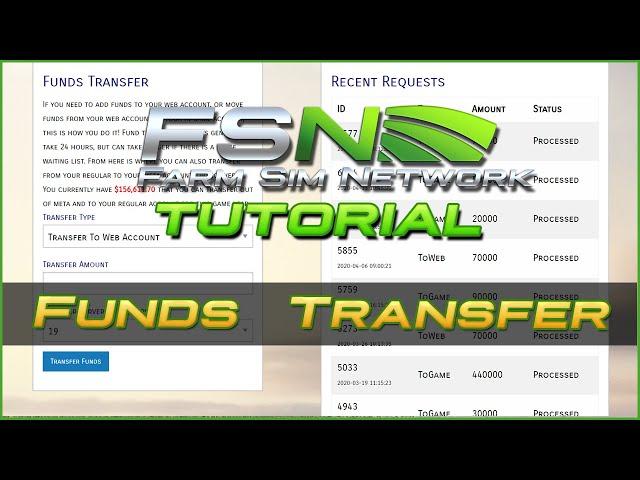 Funds Transfers   Farm Sim Network (FSN) Tutorial #16
