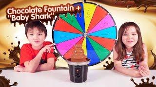 MYSTERY WHEEL CHOCOLATE FOUNTAIN CHALLENGE + BABY SHARK !! 巧克力噴泉挑戰!