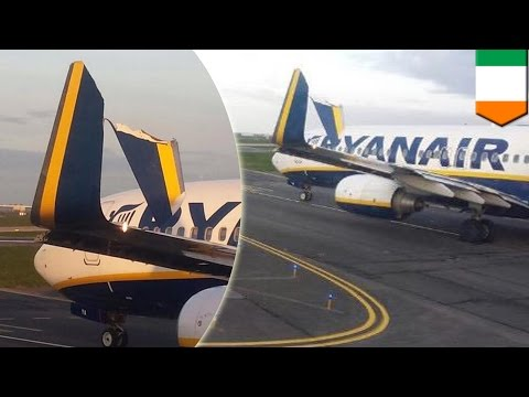Budget airline Ryanair clips tail fin of another plane while taxiing in Dublin Airport