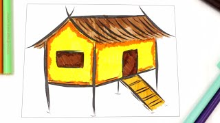 colouring stilt house, learn types of houses for kids, colouring pages for kids