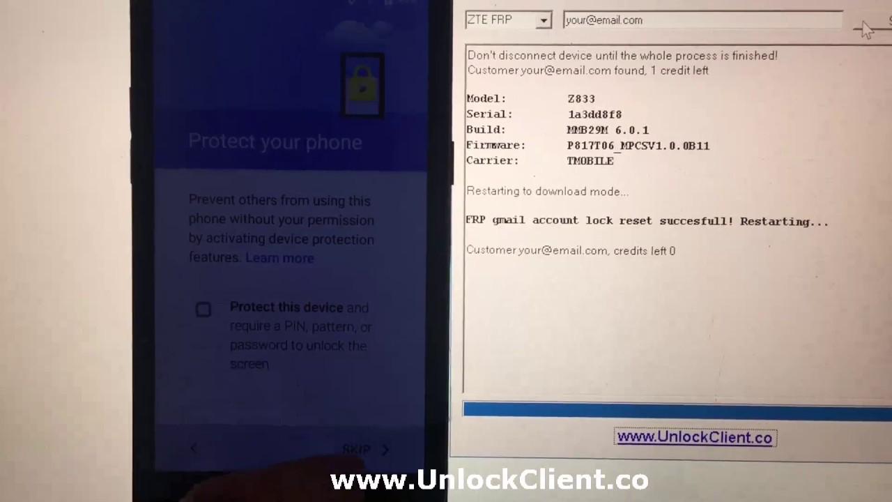 ZTE Z815 Z831 Z832 Z833 Z835 Z839 Z851 Z852 Z855 bypass frp account quitar  cuenta by Unlockclient co