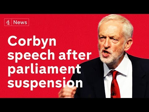 Jeremy Corbyn gives speech on no-deal Brexit amid parliament suspension