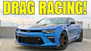 camaro 1le drag racing vs scat pack c7 corvette almost crashing