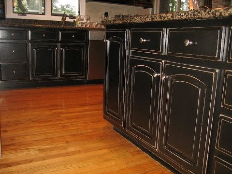 How to Paint Kitchen Cabinets to Look Antique - How To Paint Kitchen Cabinets To Look Antique - YouTube