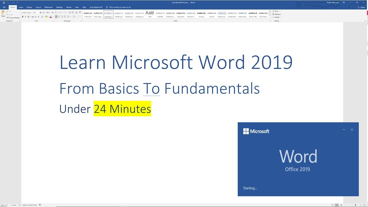 Learn Microsoft Word 2019 - From Basics to the Fundamentals