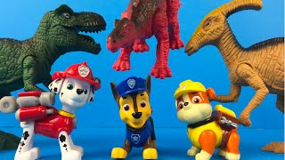 Paw Patrol Adventure to the dinosaurs - TRex Dino toys for kids with Marshall Rocky and Chase