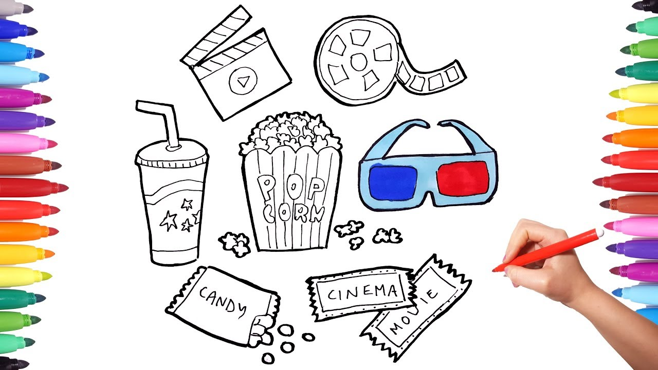 How To Draw Set For Cinema Cinema Movie Theater Coloring Pages For Kids Pop Corn Candy Film Art Youtube