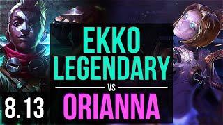 EKKO vs ORIANNA (MID) ~ Legendary, KDA 12/4/8 ~ Korea Challenger ~ Patch 8.13