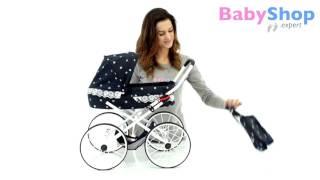 Der kleine Puppenwagen im Retro-Stil (dunkelblau mit blauen Tupfen)  - www.babyshop.expert