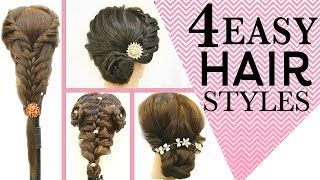 4 Quick & Easy Hairstyle Tutorial For Long Hair | 5 Minute Hairstyles | Step By Step Tutorial