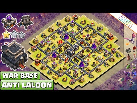 NEW TOWN HALL 9 (TH9) CLAN-WAR BASE 2018! TH9 WAR BASE ANTI LAVALOON!! - CLASH OF CLANS (COC)