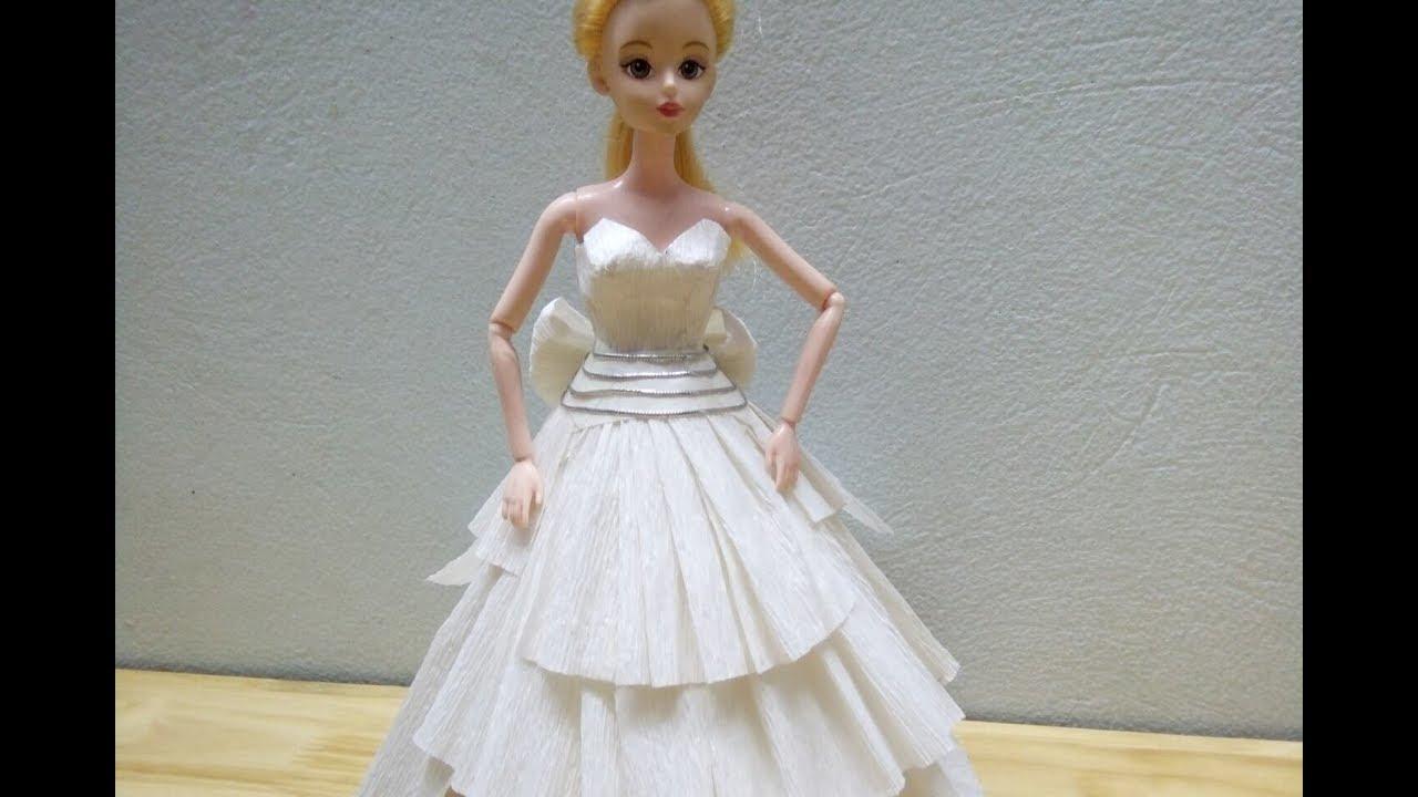 Làm váy cưới bằng giấy cho búp bê
